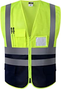 Multi Pockets Class 2 High Visibility Zipper Front Safety Vest With Reflective Strips.Meets ANSI/ISEA Standards (L, Fluorescent yellow)
