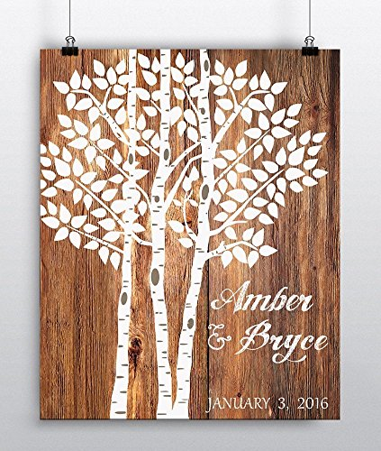 Wedding Tree Print – Wedding Guest Book Alternative – Personalized Art Poster – Wedding Decor Paper