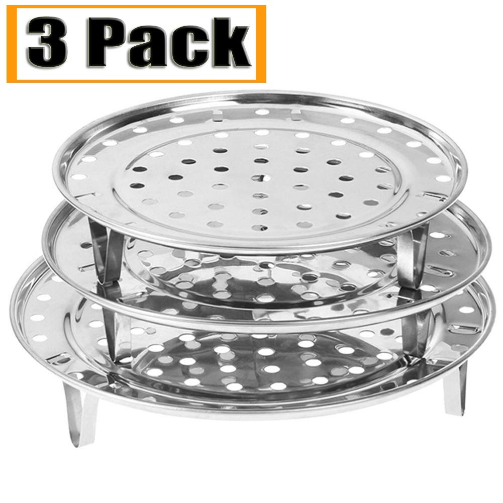 "NRDBEEE Round Stainless Steel Rack 7.6"" 8.5"" 9.33"" Inch Diameter Steaming Stand Canner Canning Racks Steamer Insert Stock Pot Steaming Tray Stand Pressure Cooker Cooking Toast Bread Salad (3 Pack)"