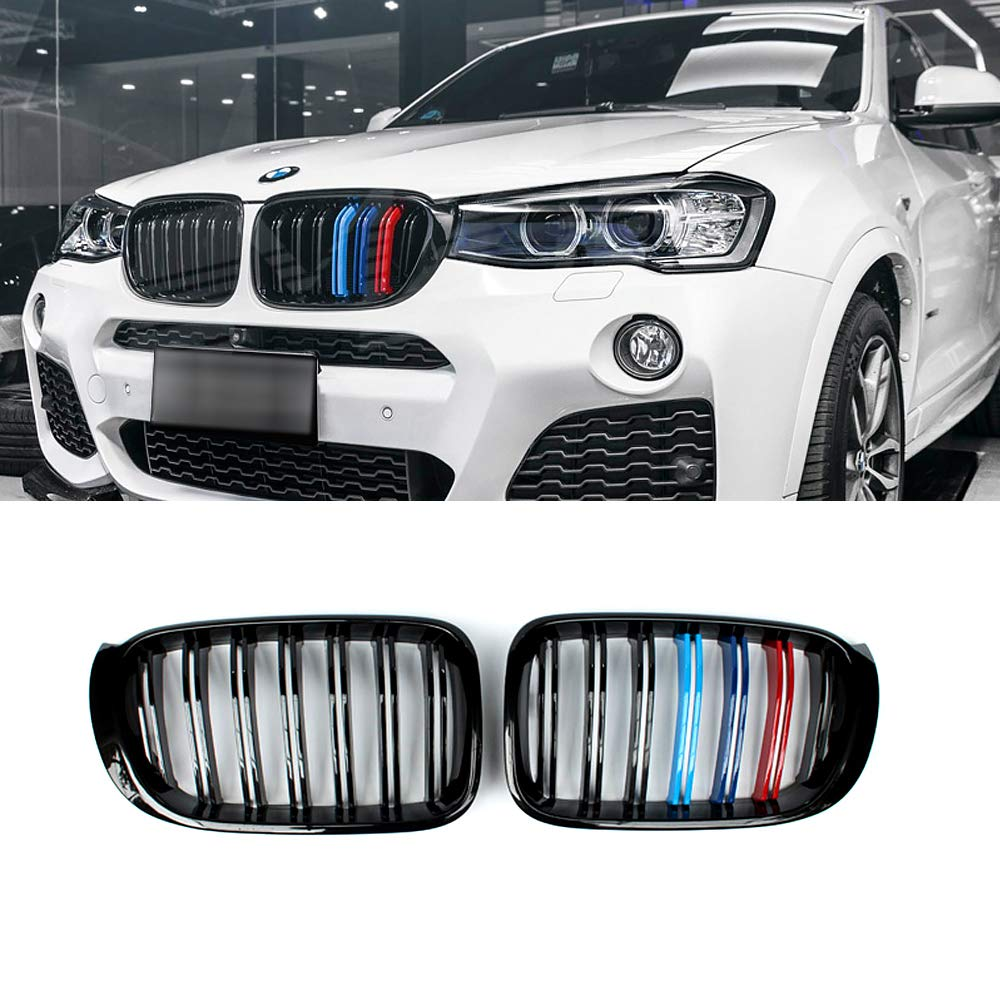 2-pc Set SNA Gloss Black ABS Front Kidney Grille with Double Slats M Color Stripes Mesh Grill Compatible for BMW X3 F25 X4 F26
