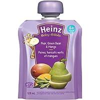 HEINZ Strained Pear, Green Bean & Mango Pouch, 6 Pack, 128ML Each