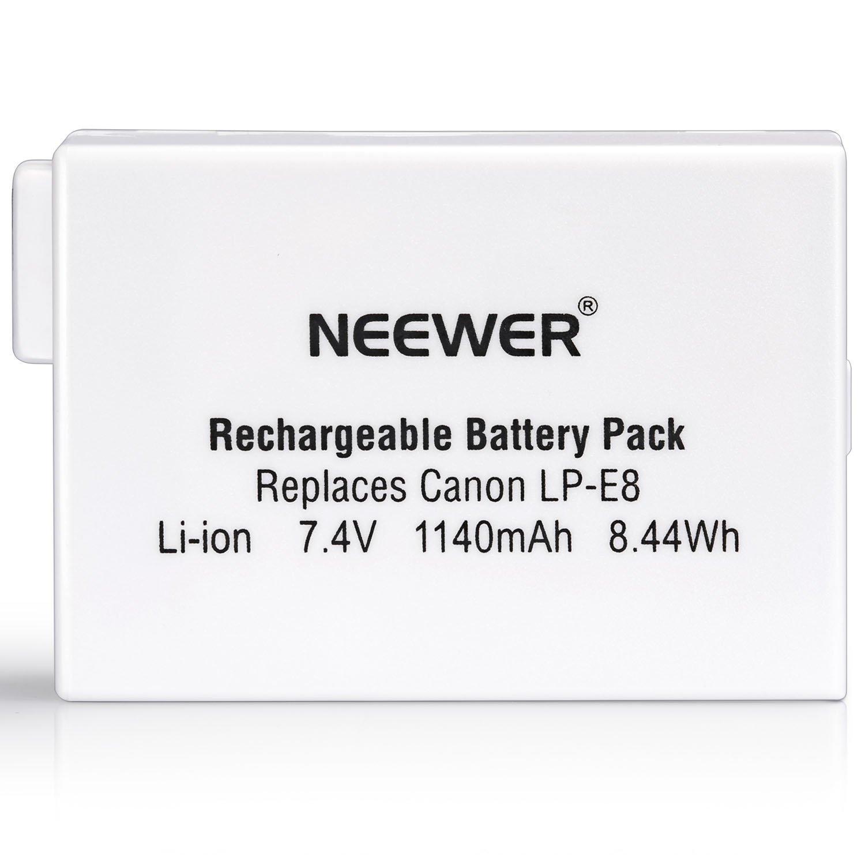 Neewer Rechargeable Replacement LP-E8 Li-ion 1140mAh Battery for BG-E8 Battery Grip, Canon EOS 550D 600D 650D 700D Digital Rebel T2i T3i T4i 10000260