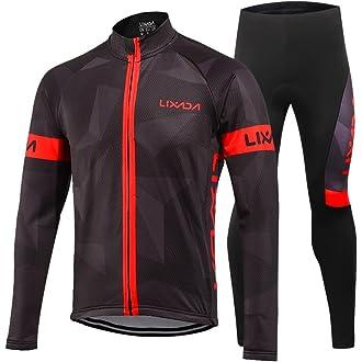 6 Lixada Men s Cycling Jersey Suit Winter Thermal Fleece Long Sleeve  Mountain Bike Road Bicycle Shirt Padded 761e401dc
