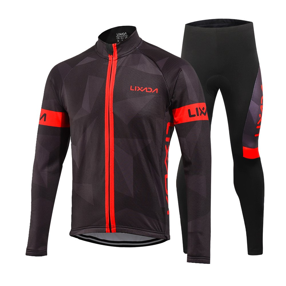 Amazon.com  Lixada Men s Cycling Jersey Suit Winter Thermal Fleece Long  Sleeve Mountain Bike Road Bicycle Shirt Padded Pants  Sports   Outdoors 540ffdb29