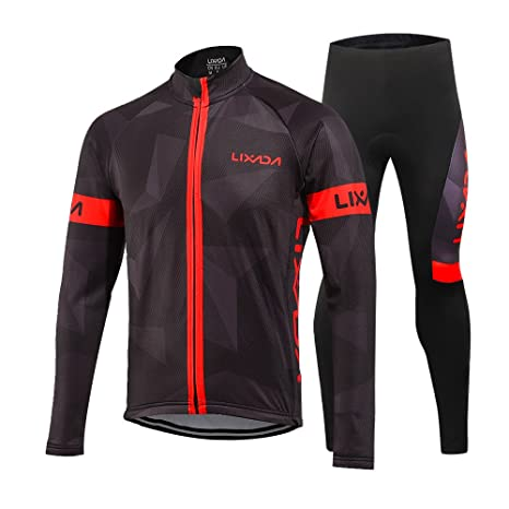 Lixada Mens Cycling Jersey Suit Winter Thermal Fleece Long Sleeve Mountain Bike Road Bicycle Shirt Padded Pants