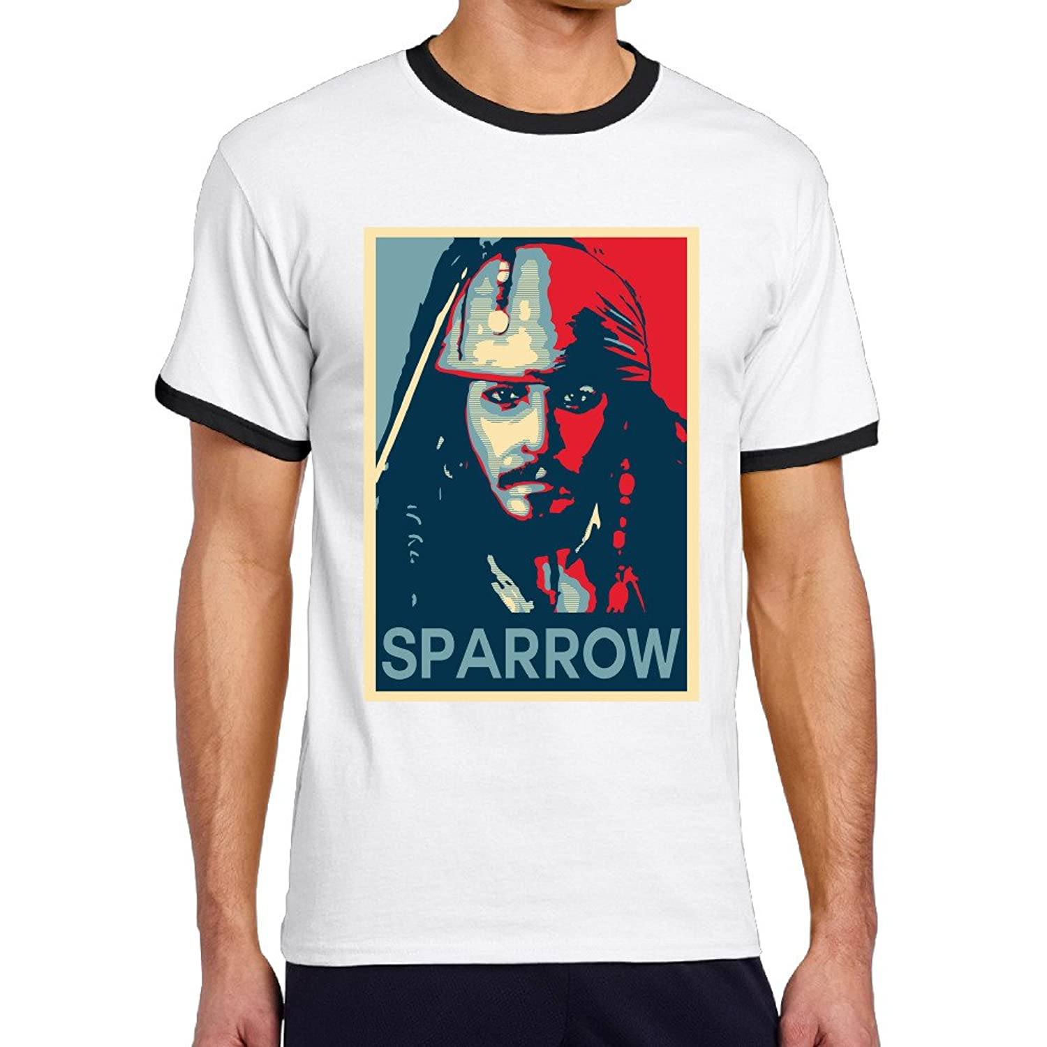 McBr Jack Sparrow Movie Character Jdepp Men's Two-toned T Shirt-Cool Black