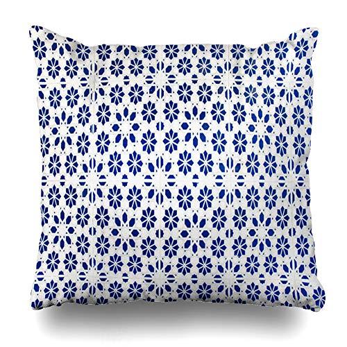 (Ahawoso Throw Pillow Cover Square 20x20 Marrakech Blue Agadir Moroccan Tiles Arabic Patterns Ceramic Abstract Antique Craft Design Pillowcase Home Decor Cushion Case)