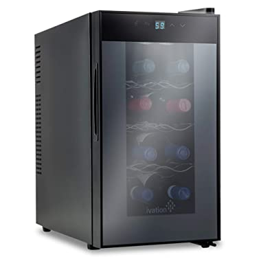 Ivation 8 Bottle Red And White Wine Thermoelectric Wine Cooler/Chiller Counter Top Wine Cellar with Digital Temperature Display, Freestanding Refrigerator Smoked Glass Door Quiet Operation Fridge