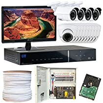 GW Security Inc 12CHP6 16-Channel H.264 960H and D1 Real-Time DVR with 12 x 1/3 Inches Color Sony CMOS 850 TV Lines Security Camera Package, Free LED Monitor (White/Black)