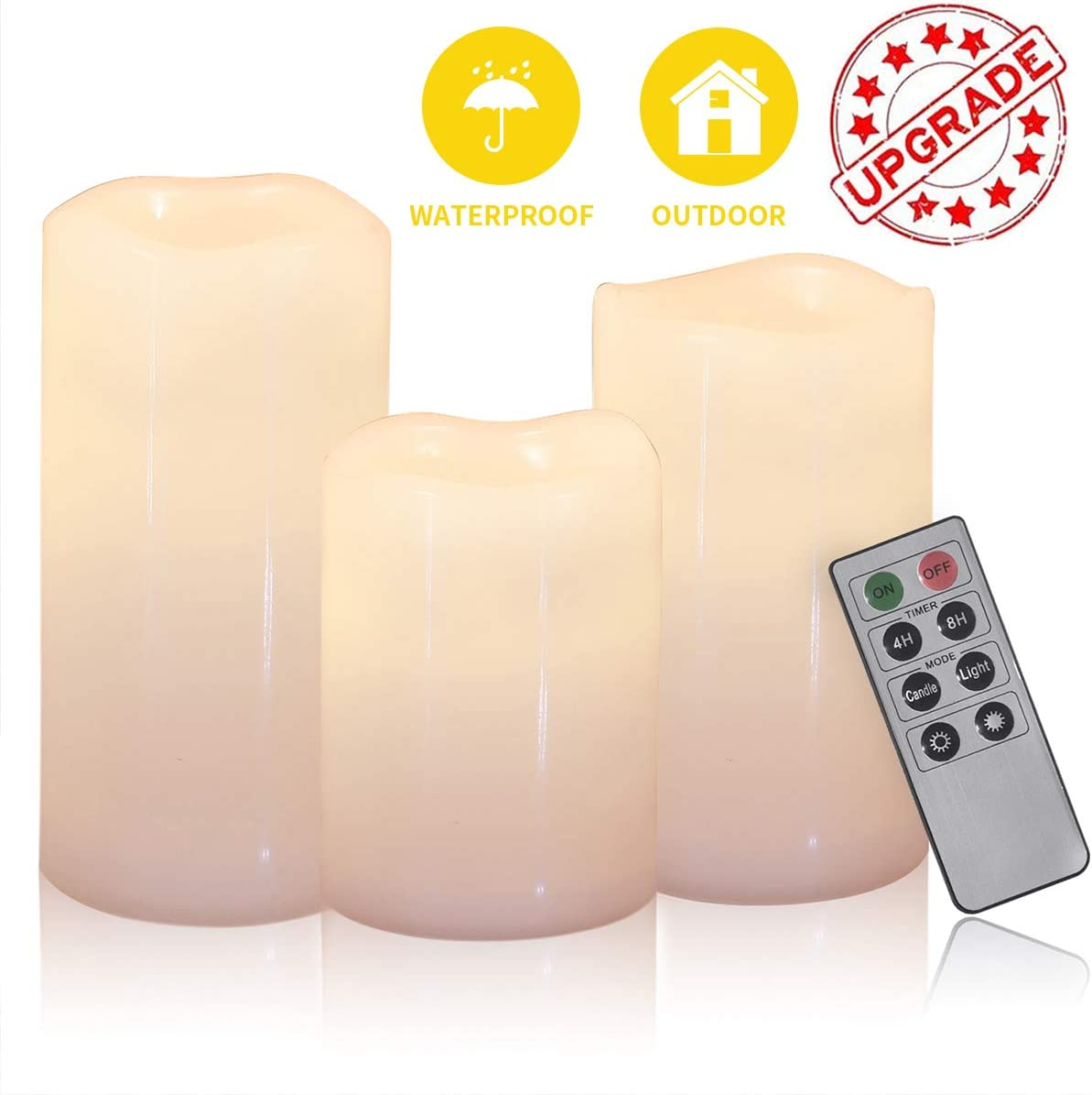SHYMERY Outdoor Indoor Waterproof Battery Candles,Flameless LED Pillar Candles, Set of 3 H 4 5 6 x D 3 with Remote Timer for Lantern Patio Garden Home Decor Party Wedding Decoration,Warm White