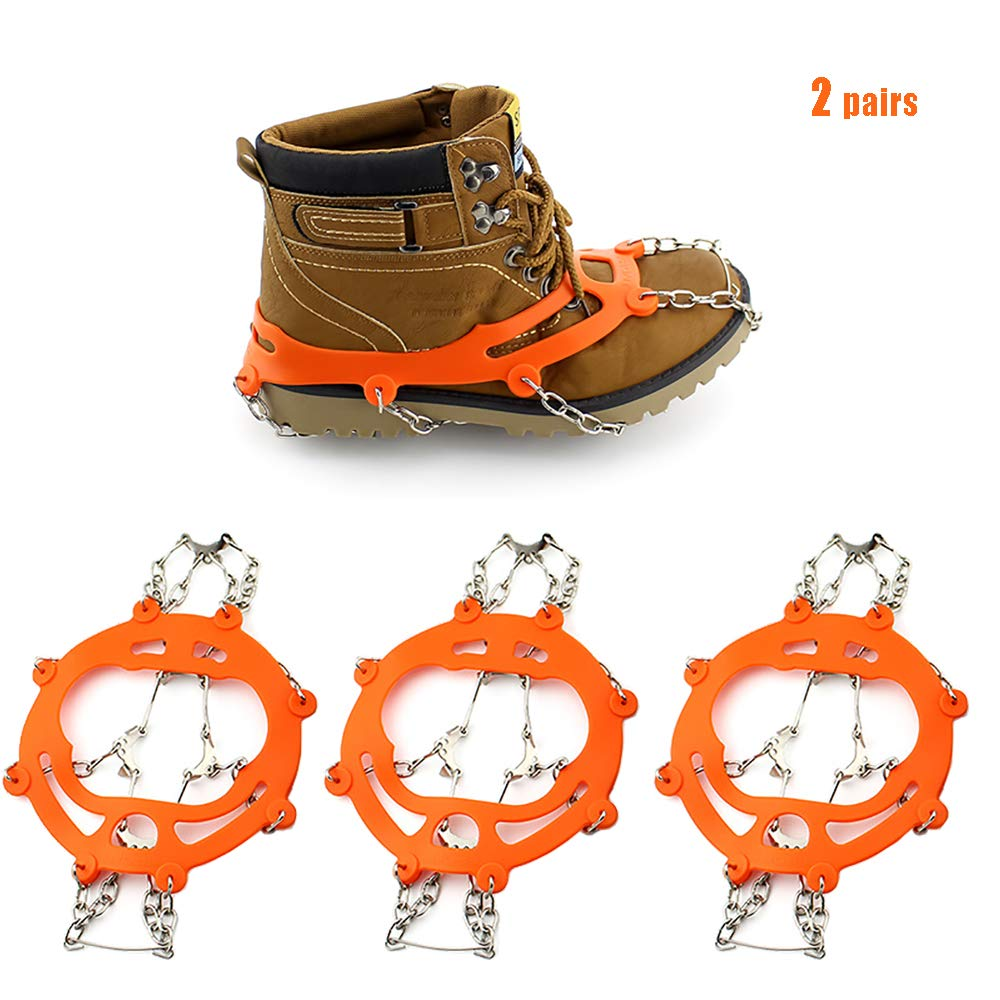 HJJH 10 Spikes, Eisschneegriffe, Steigeisen Micro Spikes Eisschneegriffe, Zugklemmen System Safe Protect zum Gehen, Joggen oder Wandern auf Schnee und EIS, 2 Paare (ohne Schuhe)