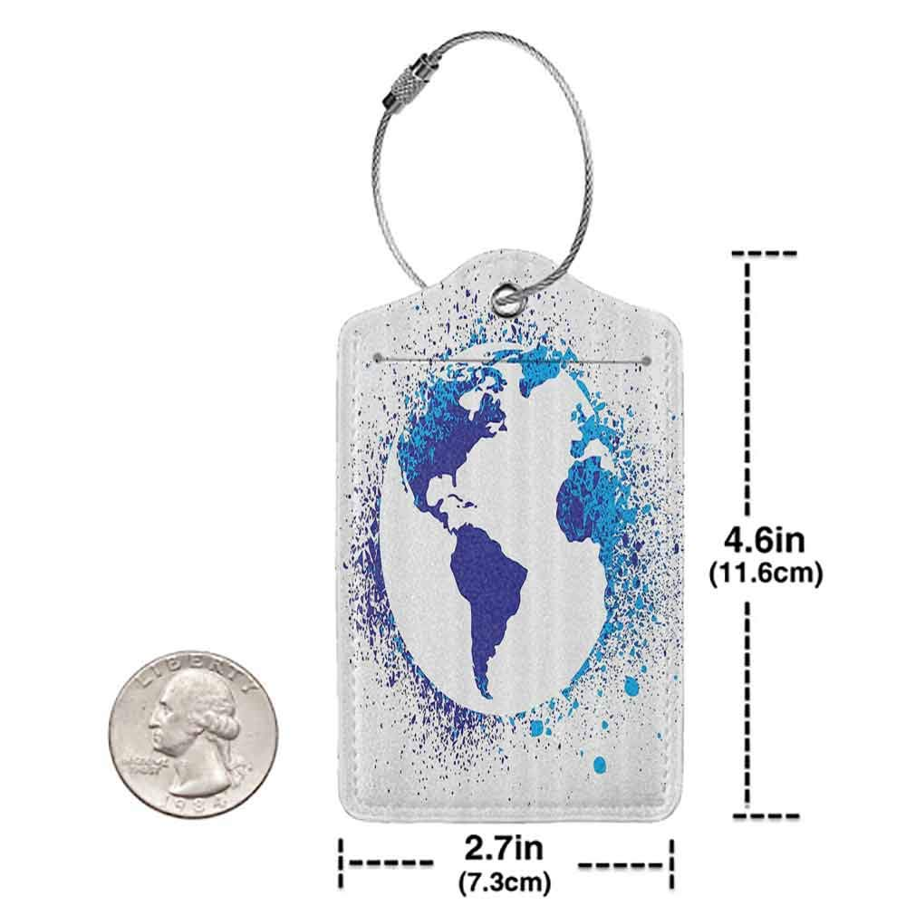Modern luggage tag Grunge Home Decor Globe With Ink Splatter Illustration Color Splashes All Over World Map Continents Suitable for children and adults Blue White W2.7 x L4.6
