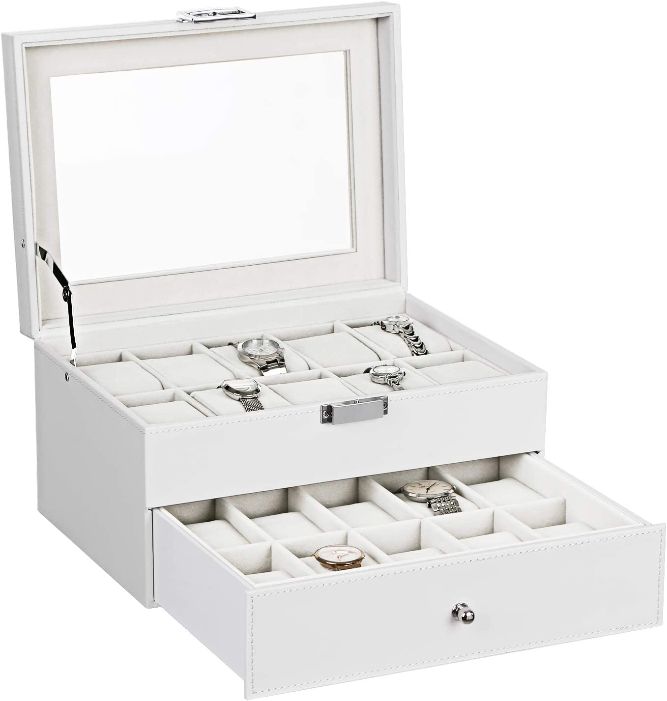 BEWISHOME Watch Box Organizer 20 Men Women Watch Case Display Storage Holder Metal Hinge White PU Leather Glass Top Large Holder, White SSH04W