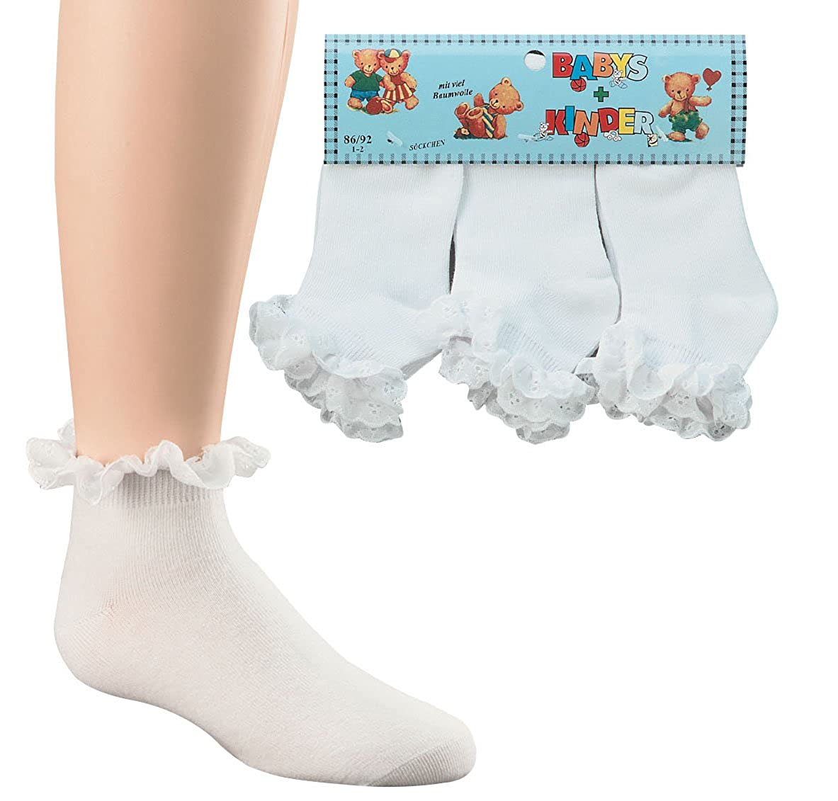 3 paia di romanticismo-calzini con balze in vero cotone con punte per bambini e bambine