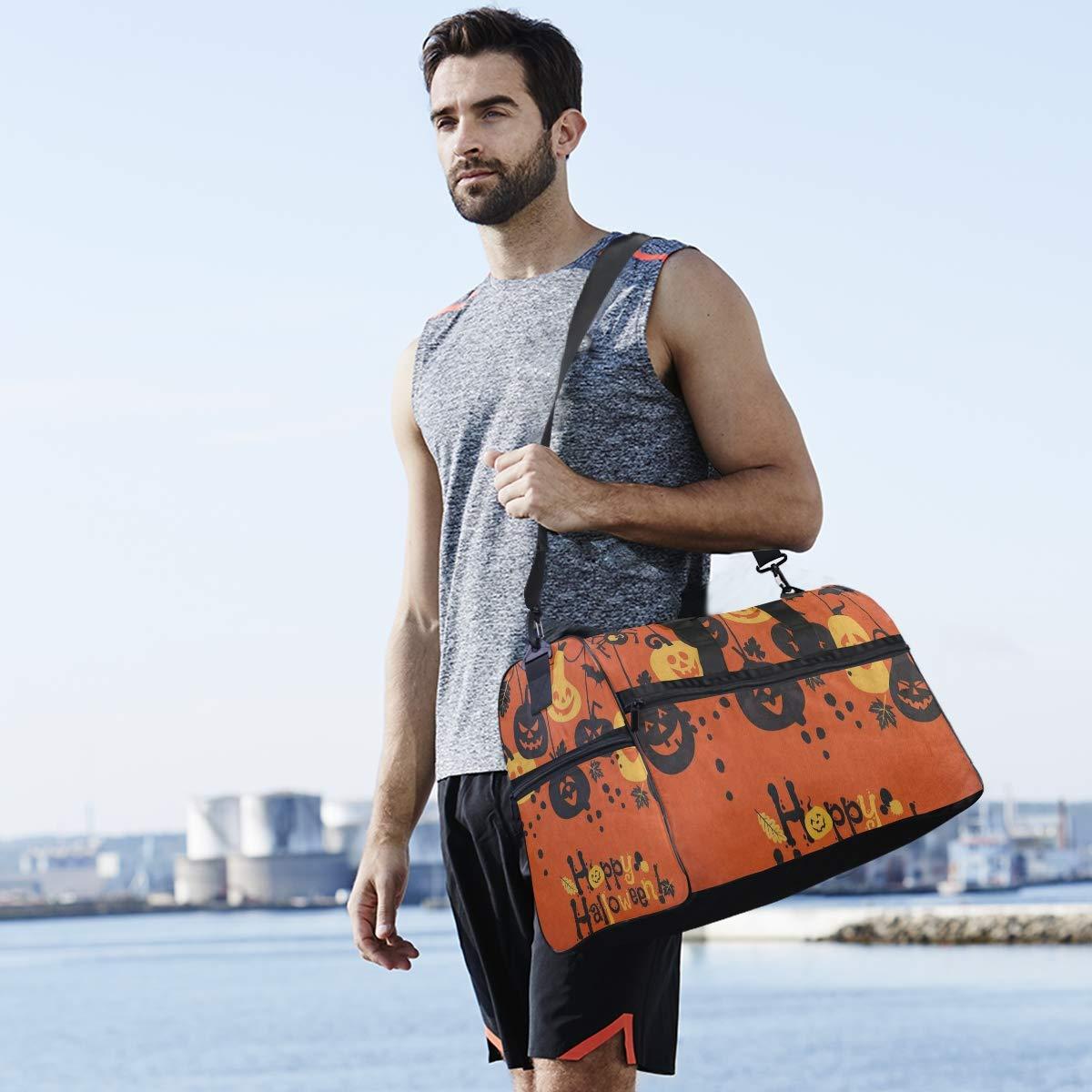 Cartoon Pumpkin Bat Happy Halloween Large Canvas shoulder bag with Shoe Compartment Travel Tote Luggage Weekender Duffle Bag