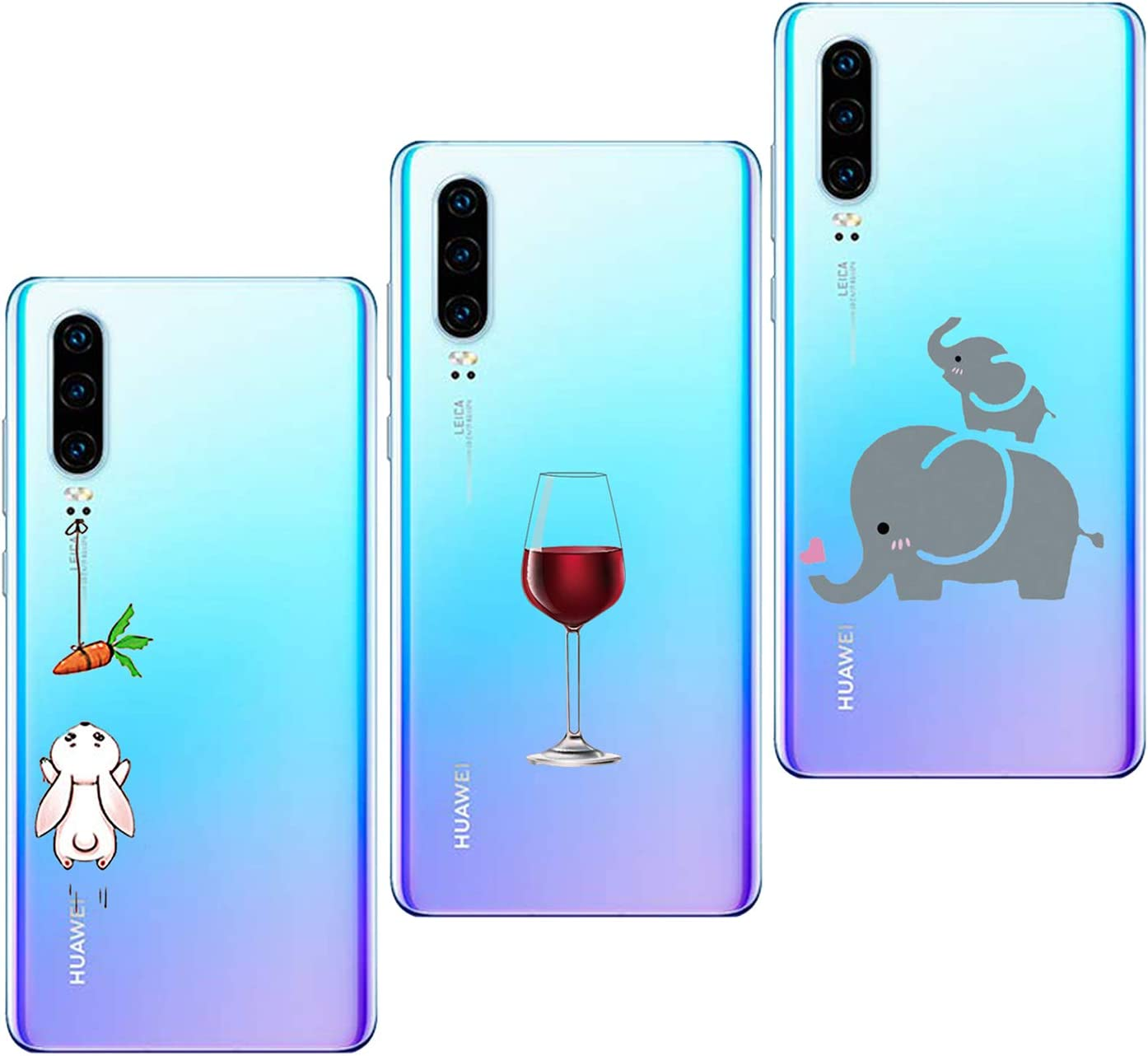 3 pi/èces Coque Compatible pour Xiaomi Mi 9 Transparent Ultra Mince Silicone Gel Souple Housse Crystal Mignon Artistique Motif Protection Antichoc Etui Oihxse 2