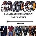 DCFlat Adjustable Automsatic Buckle Ratchet Genuine Leather Belts for Men