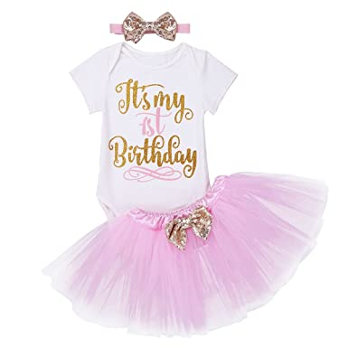 eaefc1636 CHICTRY Baby Girl's 1st Birthday Party Costume Tutu Mesh Skirt With Sequin  Romper Top Headband Set
