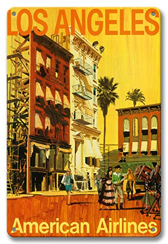 Pacifica Island Art 8in x 12in Vintage Tin Sign - Los Angeles - American Airlines - Hollywood California Movie Set by Van Kaufman