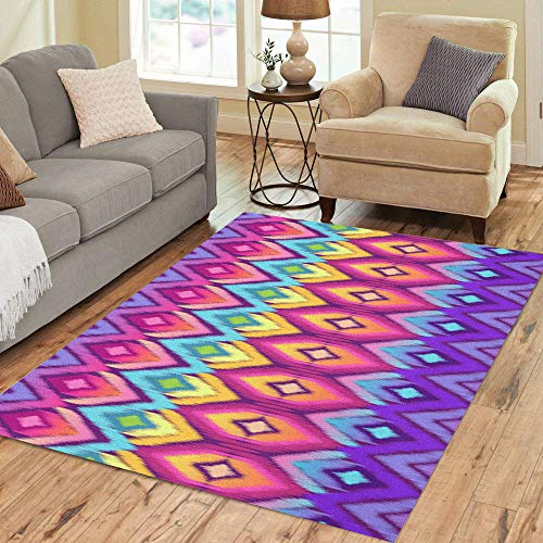 Semtomn Area Rug 3' X 5' Colorful Pattern Rainbow Ikat Pink Moroccan Aztec Kaleidoscope Abstract Home Decor Collection Floor Rugs Carpet for Living Room Bedroom Dining Room