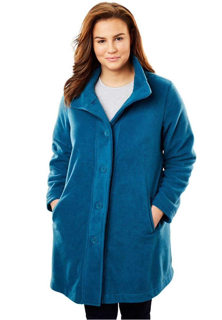 Woman Within Women's Plus Size Fleece Swing Funnel-Neck Jacket