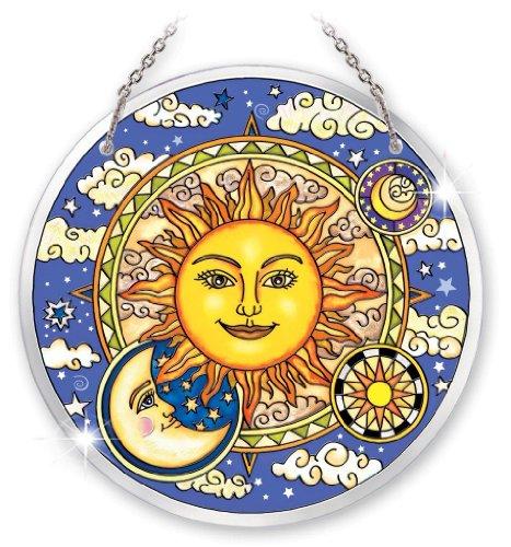 Amia Beveled Glass Circle Suncatcher Celestial Design, 6-1/2-Inch, Large