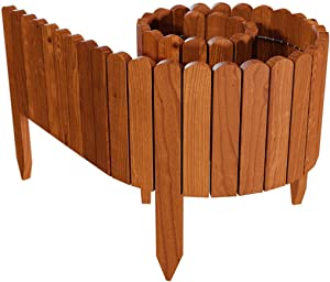 Ksowam Wooden Plug-in Fence Pickets, Flexible Patio Garden Fence No-Dig Picket Fence Decorative Gardening Border for Flower Bed Patio Landscaping Bordering (20)