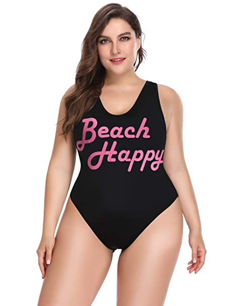 ALONG FIT Women's Plus Size Swimwear with High Cut and Low Back One Piece  Swimsuits Bathing Suit for Women