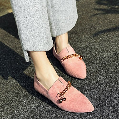 Carolbar Women's Solid Color Decorations Flat Pointed Toe Loafer Shoes Pink Em4k6uWXqe