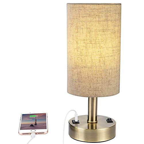 DEEPLITE USB Table Lamp for Bedroom Guest Room Living Room Office, Bedside Nightstand Lamp with 2 A USB Charging Port Modern Desk Lamp, Bronze Metal Base, Cylinder Lampshade