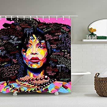 UniTendo 3D Character Style Waterproof Polyester Shower Curtain With 12 Hooks For Bathroom DecorMildew Free72 X 72 InchesExplosion Hair Girl