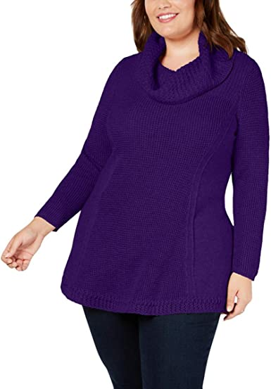 Style Co Womens Plus Knit Cowl Neck Pullover Sweater Purple 1x At Amazon Women S Clothing Store