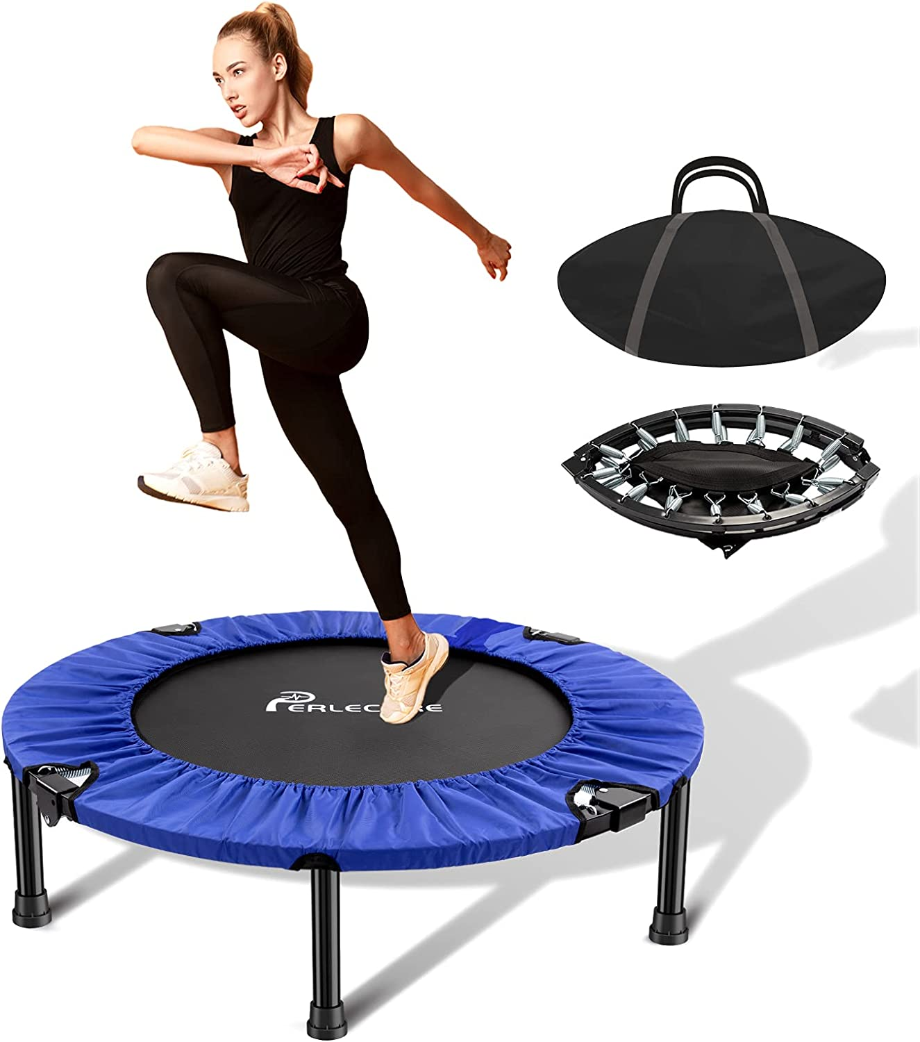 """PERLECARE 38"""" Mini Trampoline for Kids Adults, Safety Indoor Rebounder Trampoline, Folding Small Trampoline with Storage Bag for Home Exercise Fitness, Max Load 300lbs"""
