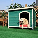 Petsfit 45.6 X 30.9 X 32.1 Inches Wooden Dog House, Wood Pet House Outdoor
