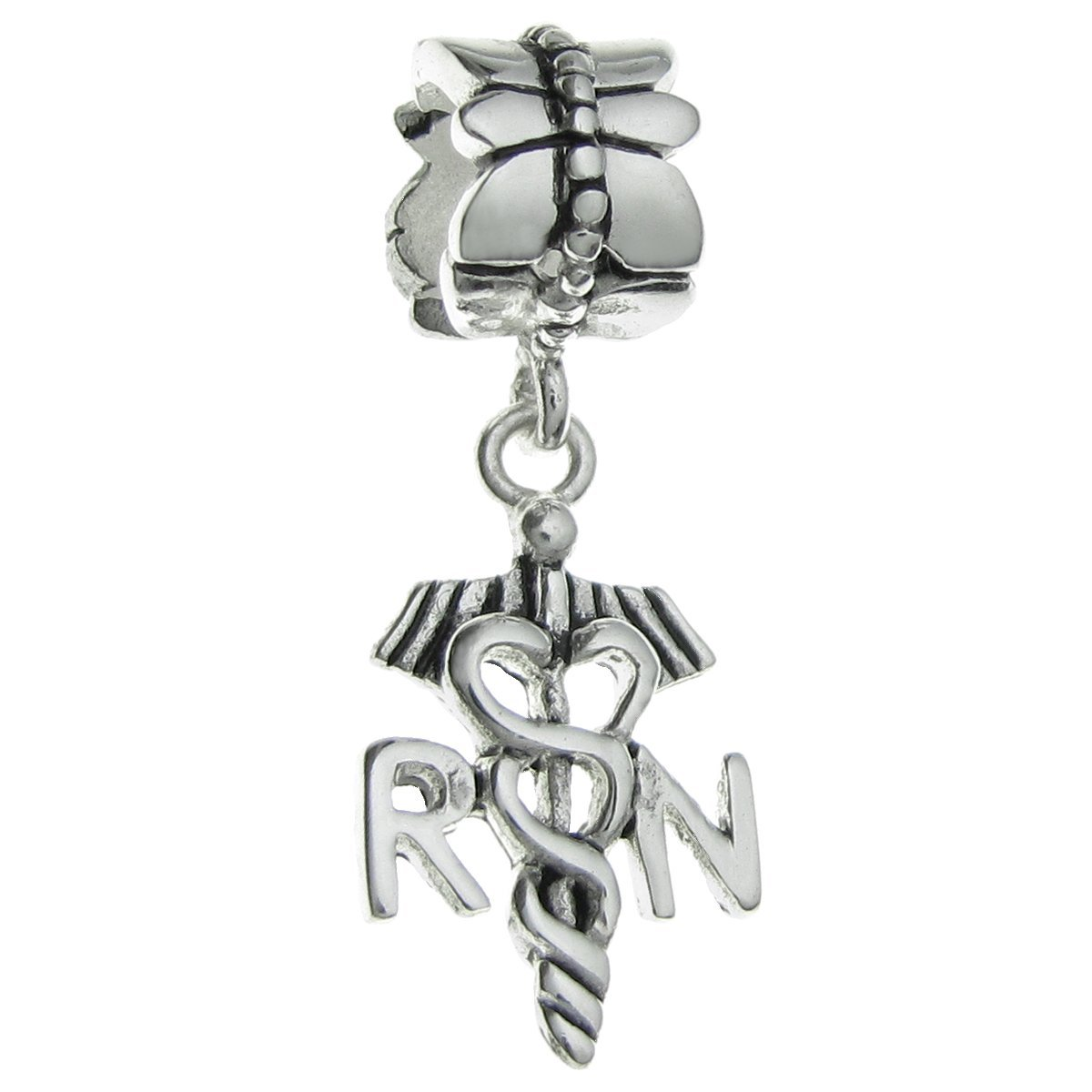 Queenberry Sterling Silver Registered Nurse Symbol European Dangle Bead Charm