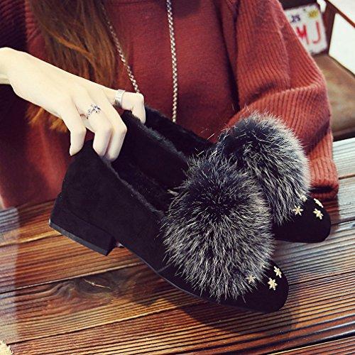 con Moda Basse UN Scarpe Scarpe Invernali Inverno Scarpe Più Cashmere Pigre Scarpe Autunno Pelliccia Di e Moda con Quadrate zqgvn