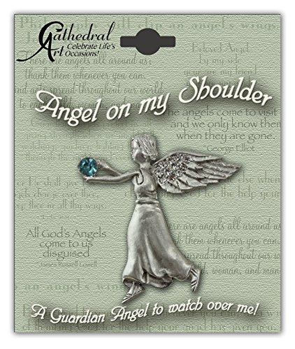 Cathedral Art BA312 December Blue Zircon Birthstone Angel Pin, 1-1/2-Inch