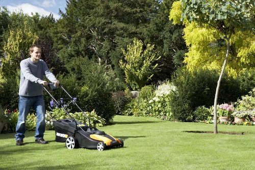 WORX WG782 14-Inch 24-Volt Cordless Lawn Mower with IntelliCut, Battery and Charger Included