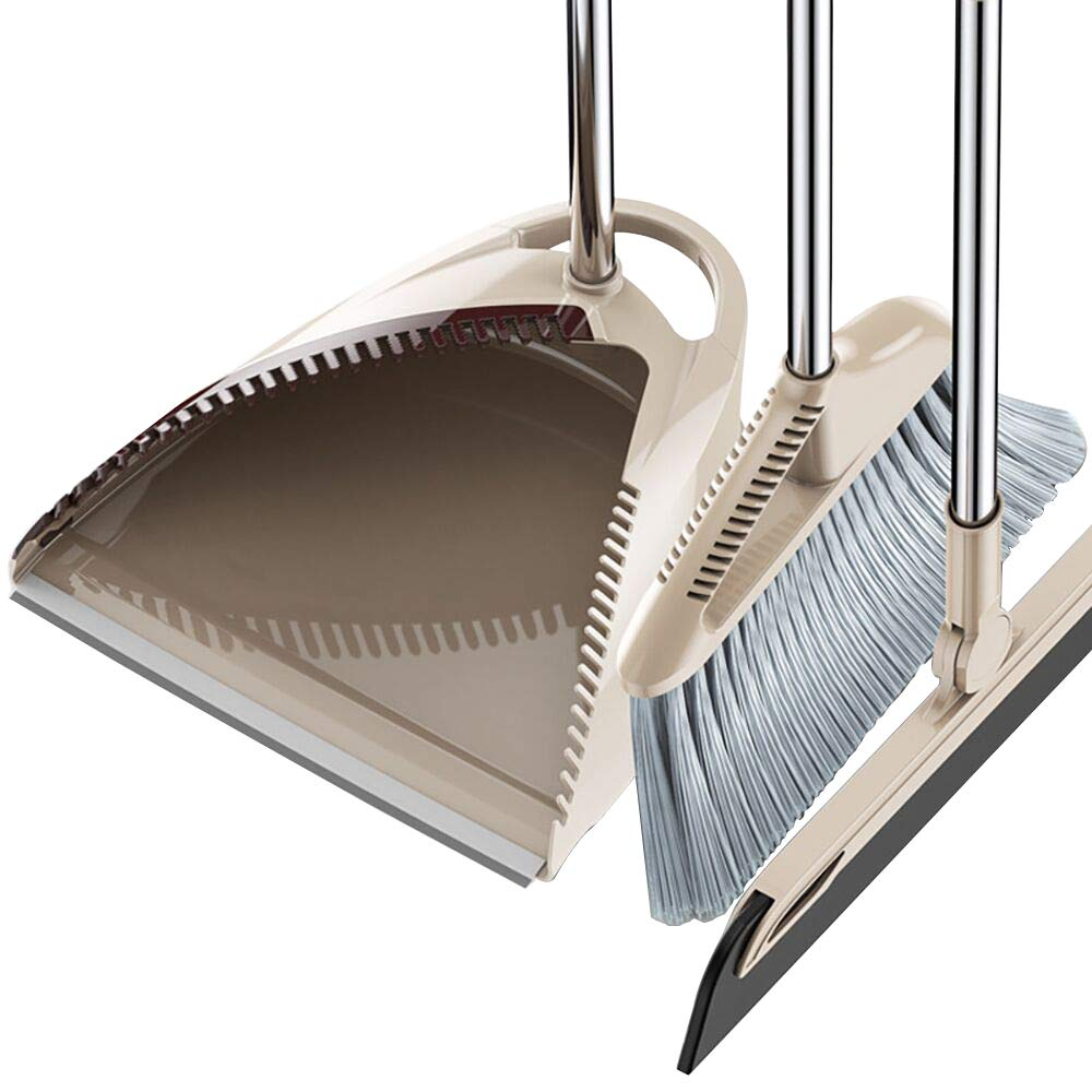 Broom and Dustpan Set with Wipe Dry Floor Squeegee- Fashionable Three-Piece Self Cleaning Broom and Dust Pan with Long Handle for Home House kitchen Office Lobby Floor Cleans
