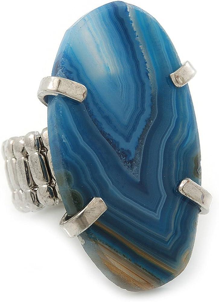 Anillo Flexible con Cuarzo Azul Pulido Ovalado en platinado de rodio. 38mm diámetro. Talla7/8
