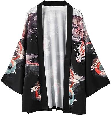 Hombre Camisa Kimono Hippie Cloak Estilo Japonés Estampado Holgado Manga 3/4 Cardigan Chaqueta Capa Ropa Casual Abrigo Básico Camisetas Cuello Mao Vintage Blusa T-Shirt Top Gusspower: Amazon.es: Ropa y accesorios