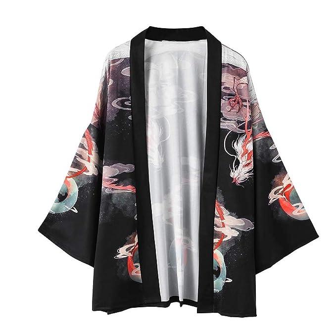 Hombre Camisa Kimono Hippie Cloak Estilo Japonés Estampado ...