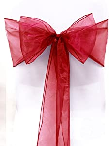 Sarvam Fashion Set of 10 Chair Bows Sashes Tie Back Decorative Item Cover ups for Wedding Reception Events Banquets Chairs Decoration (Apple Red)
