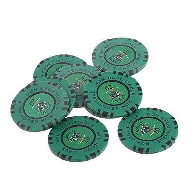 10pcs 45mm Jetons de Jeu Non Négociable en Argile Diamant Jeton Valeur 1-10000 De Poker Casino - 20, one size