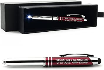 Amazon Com Teachers Gift Pen With Flashlight And Stylus Tip Engraved With Inspirational Socrates Quote Education Is The Kindling Of A Flame Teacher Appreciation Gift Ideas For Teachers Office Products