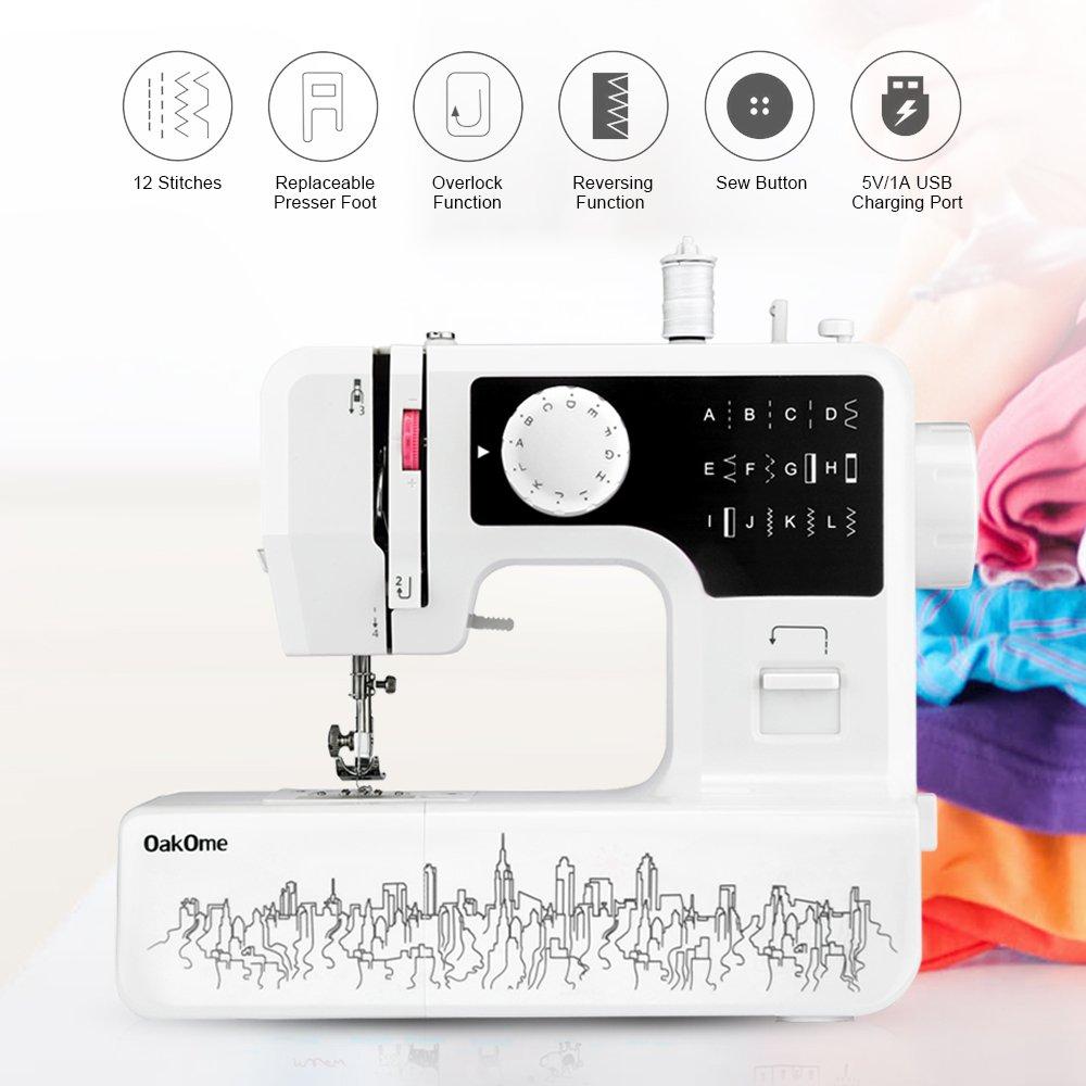 Minimáquina de coser de Oakome JG1602, 12 puntos integrados, ligera, con luz LED, pedal, aguja, bobina para principiantes, para niños y adultos negro: ...