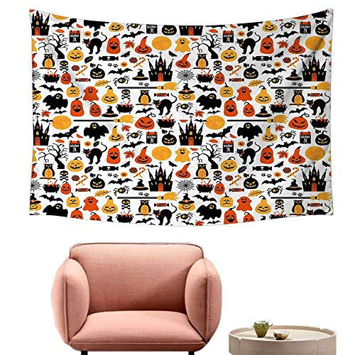 Agoza Room Tapestry Halloween Halloween Icons Collection Candies Owls Castles Ghosts October 31 Theme Stylish Minimalist Fresh Style 60