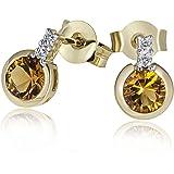 Goldmaid Damen-Ohrstecker 9 Karat 375 Gelbgold 2 Citrin 4 Diamanten 0,02 ct. Fa O2944GG375 Ohrringe Schmuck