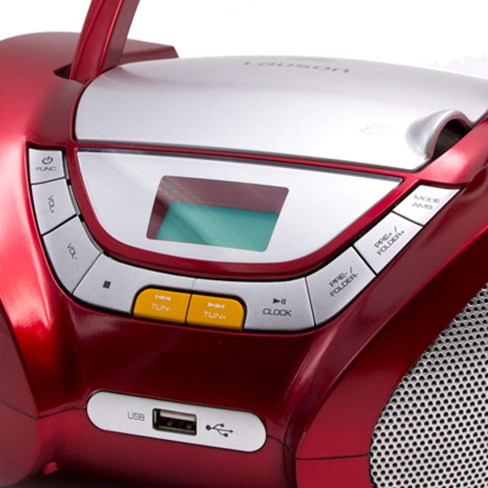 Lauson Boombox whit Cd Player Mp3   Portable Radio CD-player Stereo with USB   Usb & MP3 Player   Headphone Jack (3.5mm) CP542 (Red) by Lauson Woodsound (Image #6)