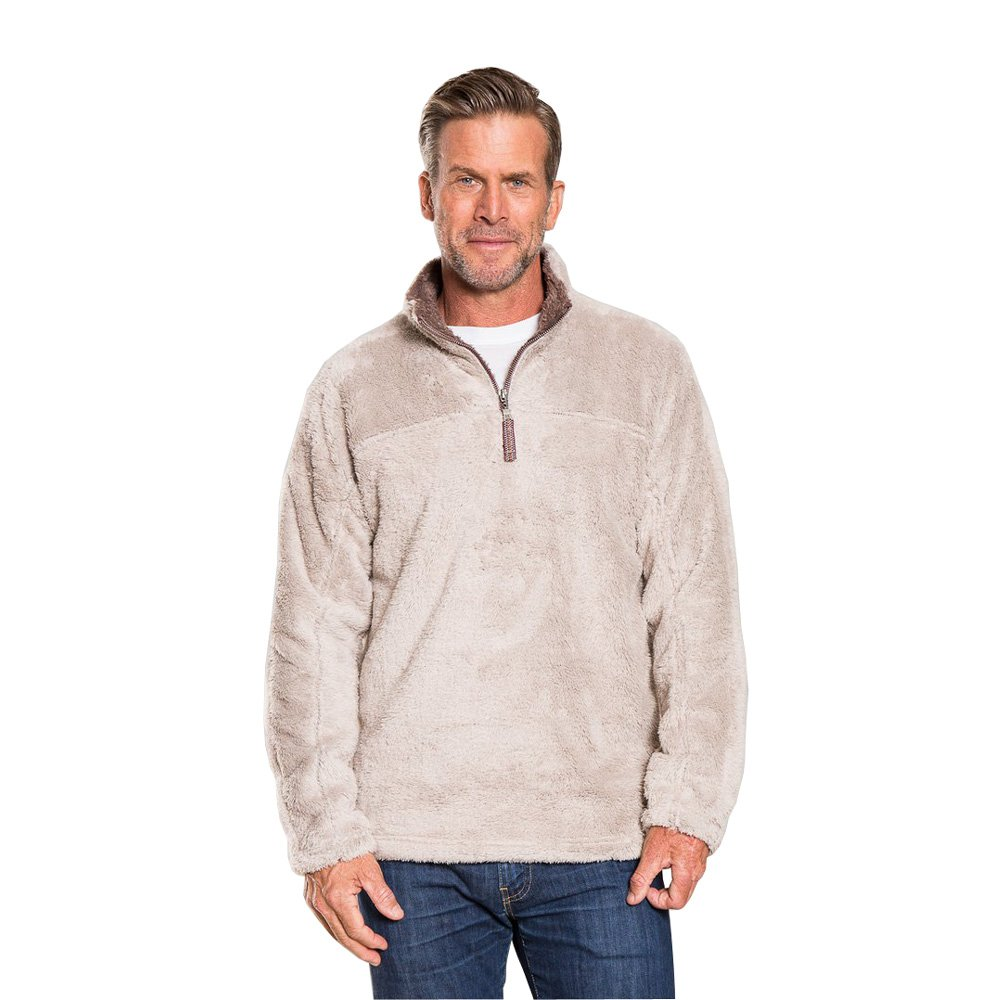 True Grit Men's Double Plush 1/2 Zip Pullover (Oatmeal,L) by True Grit